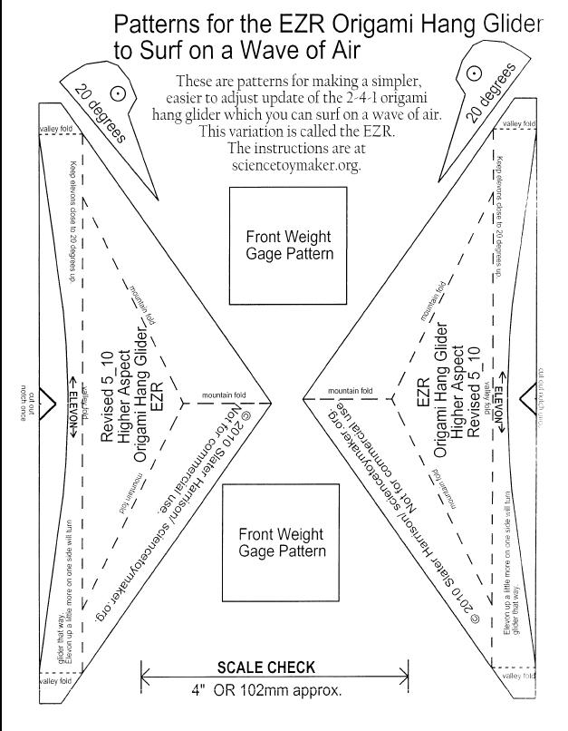 EZ Origami Hang Glider Pattern